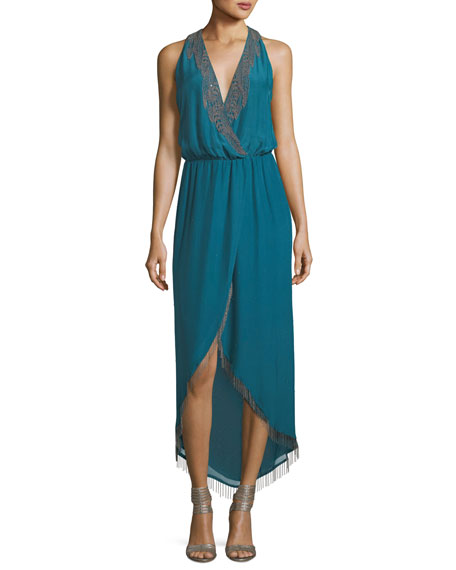 Haute Hippie Falcon Surplice Lace-Trim Cocktail Dress