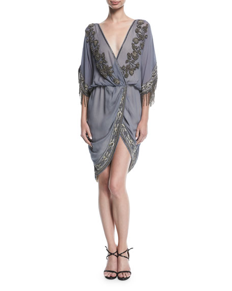 Haute Hippie Mojave Desert Draped V-Neck Cocktail Dress