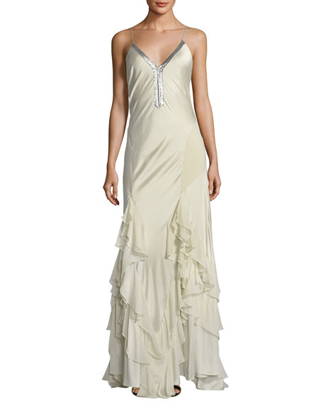 Melchizedek Long Wrapped Ruffle Evening Gown