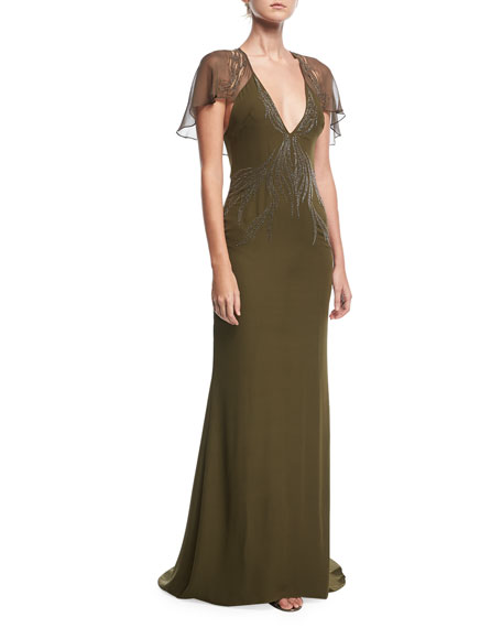 Haute Hippie Shaded Palm Plunging-Neck Cape-Sleeve Evening Gown