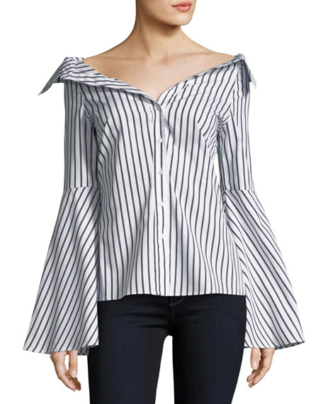 Caroline Constas Persephone Button-Front Striped Poplin Blouse