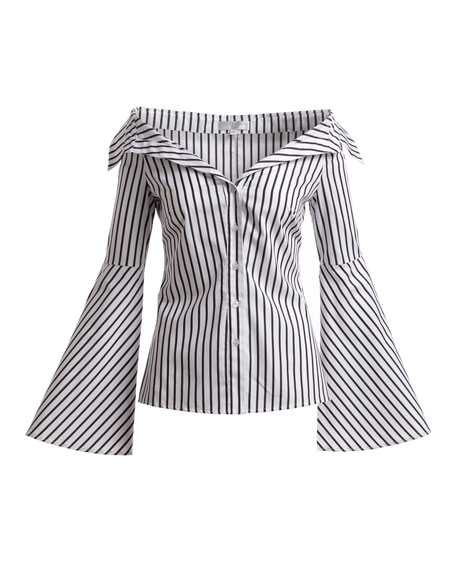 Persephone Button-Front Striped Poplin Blouse