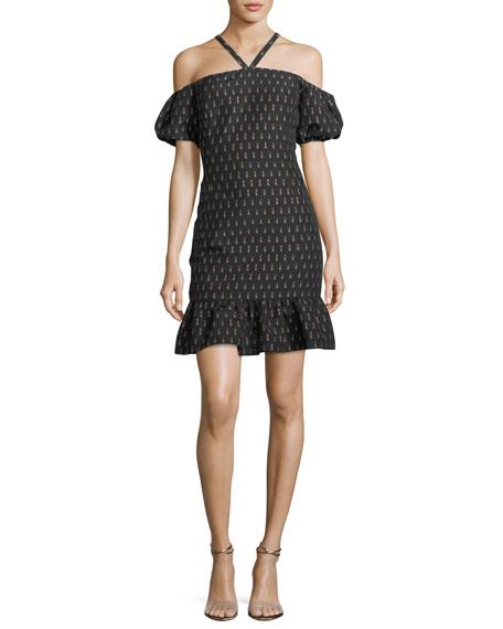 Shoshanna Leonard Lipstick-Print Halter Dress