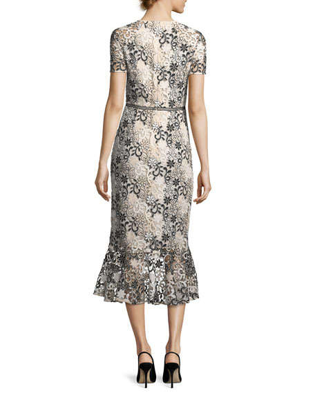 Edgecombe Short-Sleeve Floral Lace Dress w/Flounce Hem