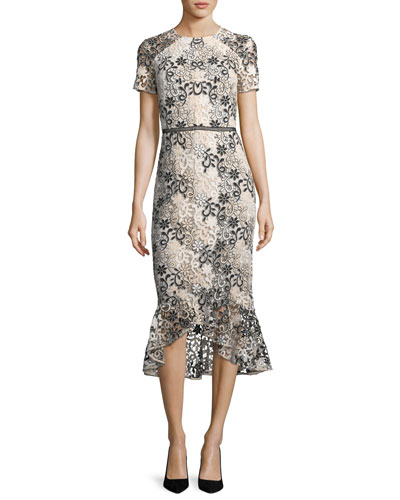 Edgecombe Short-Sleeve Floral Lace Dress w/Flounce Hem