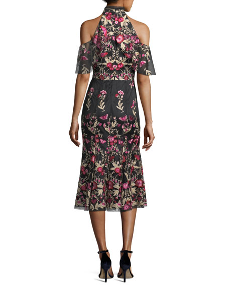 Sausalito Mesh Cold-Shoulder Cocktail Dress