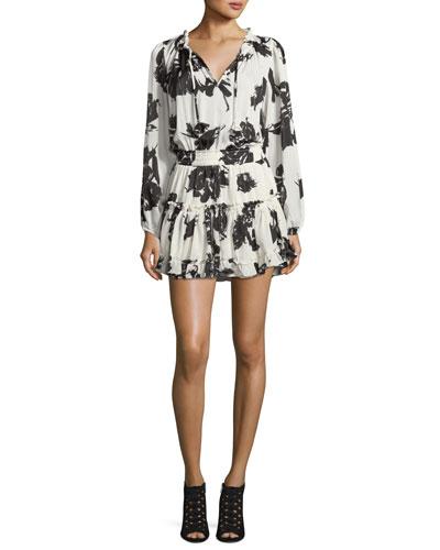 Lorena Split-Neck Floral-Print Mini Dress