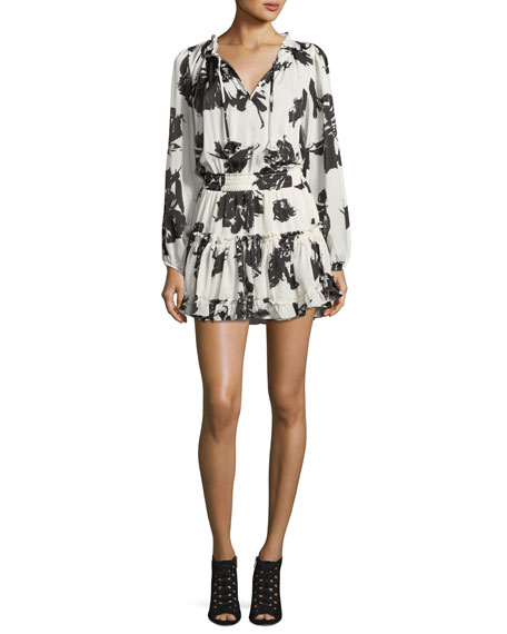 MISA Los Angeles Lorena Split-Neck Floral-Print Mini Dress