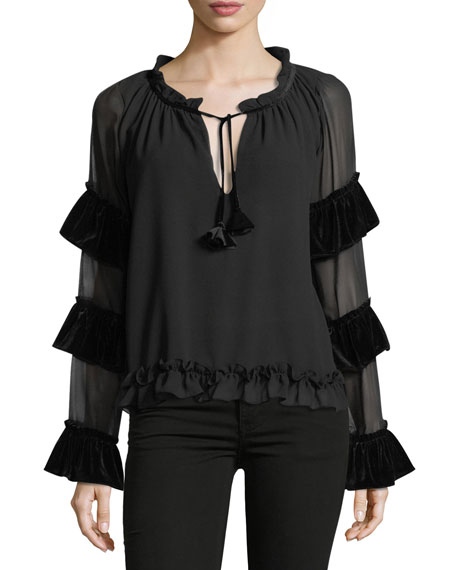 MISA Los Angeles Emeline Tiered-Sleeve Chiffon Blouse with