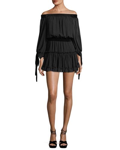 Monique Off-the-Shoulder Chiffon Dress with Velvet