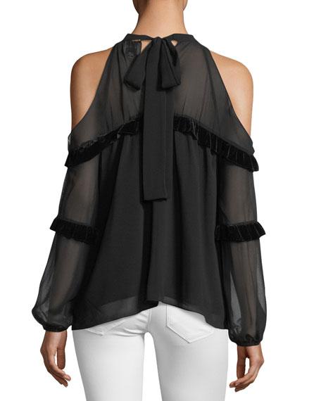 Pippa High-Neck Cold-Shoulder Blouse