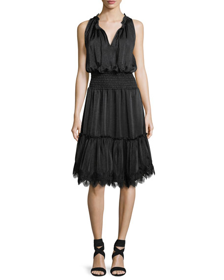 Moav Split-Neck Sleeveless Smocked-Waist Dress