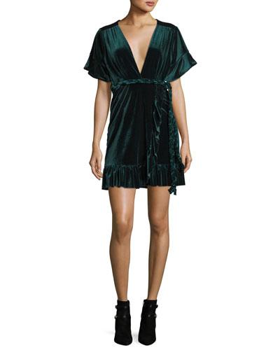 Desma Plunging Velvet Wrap Dress