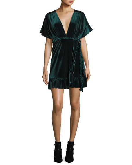 MISA Los Angeles Desma Plunging Velvet Wrap Dress