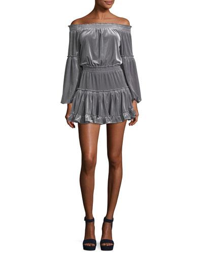Talin Off-the-Shoulder Long-Sleeve Velvet Dress