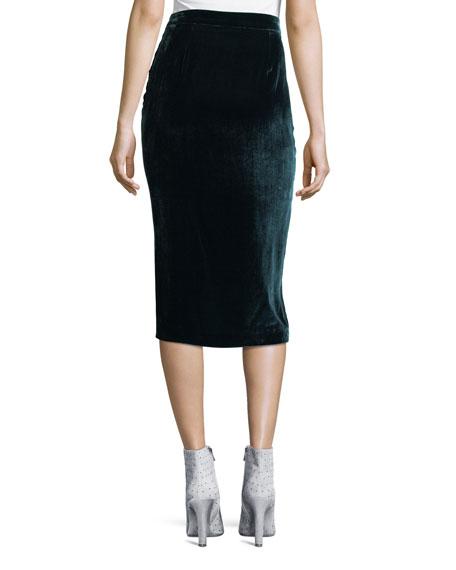 Romy Ruched Velvet Midi Skirt