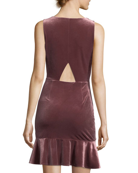 Tiffany Round-Neck Sleeveless Velvet Dress