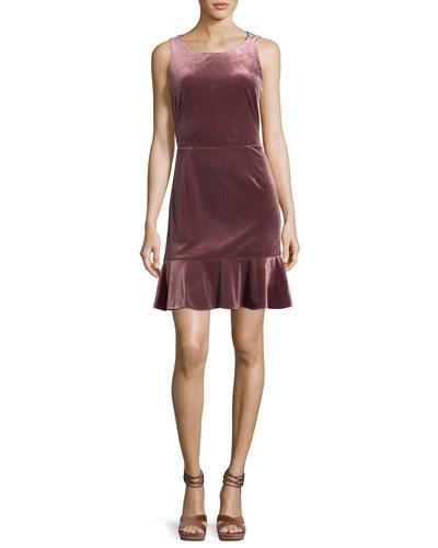 Tiffany Round-Neck Sleeveless Velvet Dress