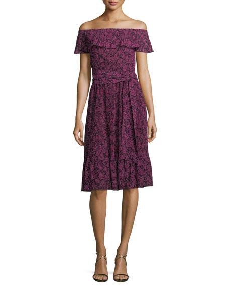 MICHAEL Michael Kors Star-Print Pleated-Trim Dress