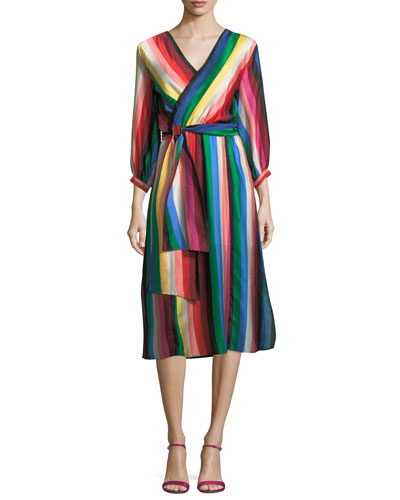 Dyanna Striped Midi Wrap Dress