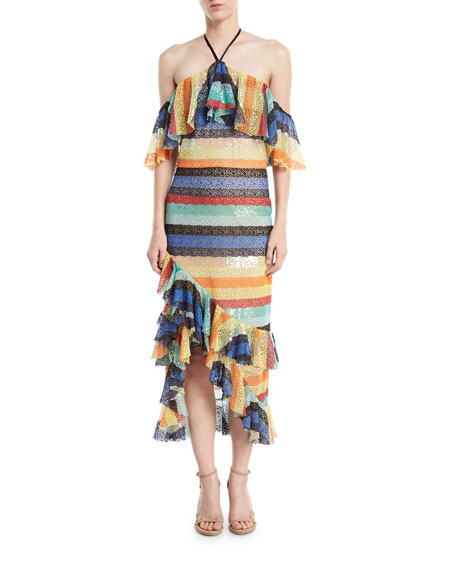 Alice + Olivia Annabeth Striped Off-Shoulder Dress
