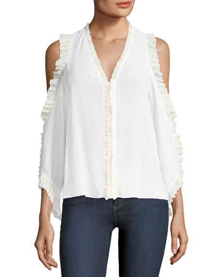 Alice + Olivia Claudette V-Neck Cold-Shoulder Silk Blouse