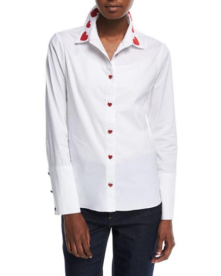 Faye Heart-Collar Button-Down Shirt