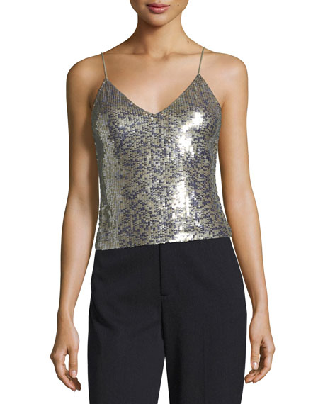 Alice + Olivia Delray Embellished Sequin Tank with
