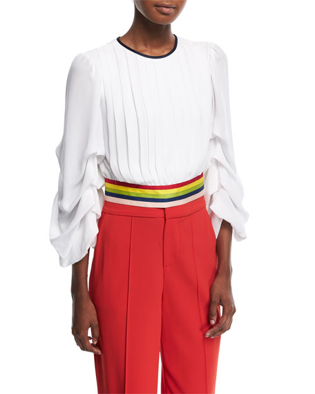 Alice + Olivia Dakota Tack-Sleeve Crop Top