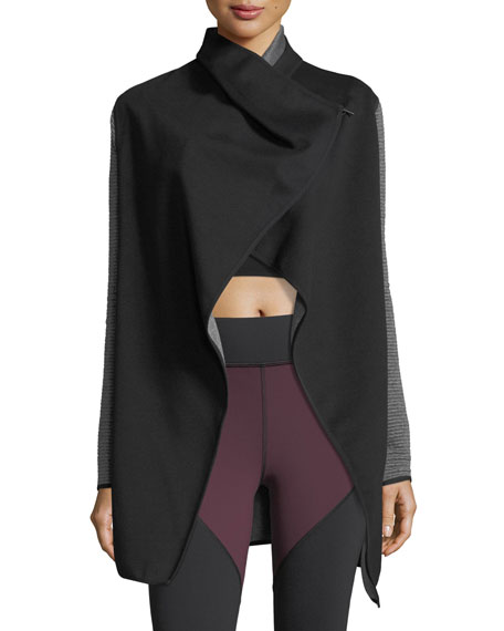 Dusk Wrap Jacket with Ribbed Sleeves