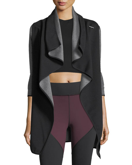 Michi Dusk Wrap Jacket with Ribbed Sleeves
