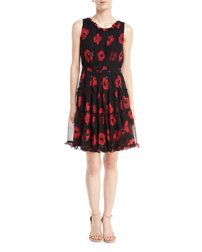 poppy chiffon sleeveless ruffle-trim dress