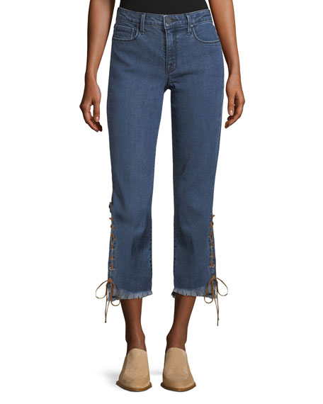 Lace-Up Cuff Straight-Leg Jeans