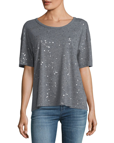City Lights Metallic Crewneck Short-Sleeve Top
