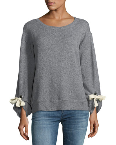 Madison Ave. Grommet Cotton Sweatshirt
