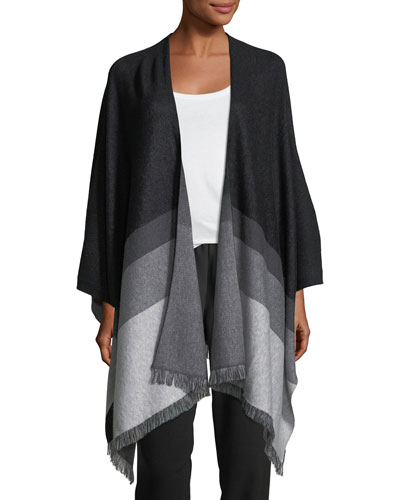 Ridgewood Colorblocked Poncho with Fringe Edges