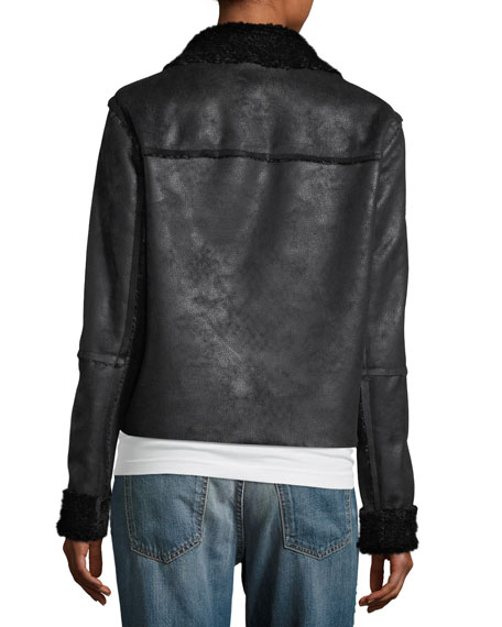 Delancey Open-Front Cropped Faux Sherpa Jacket