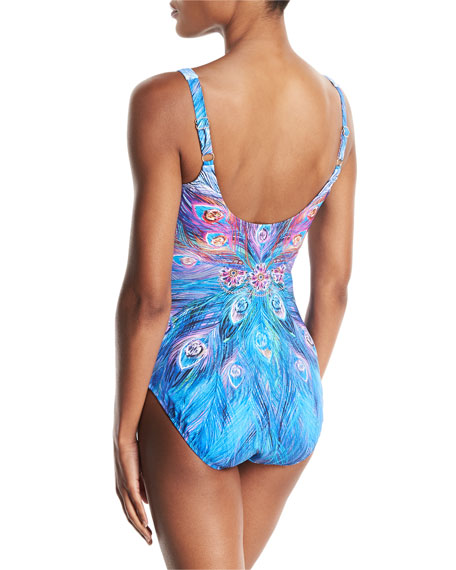 Dream Catcher Shaped Square-Neck One-Piece Swimsuit