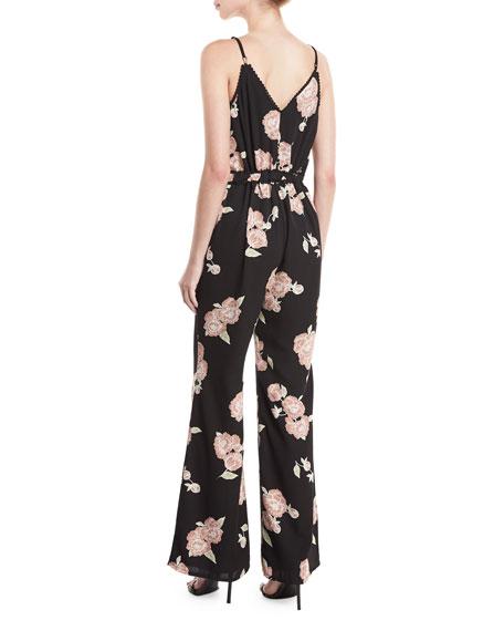 Felissa Sleeveless Floral-Print Flared-Leg Jumpsuit
