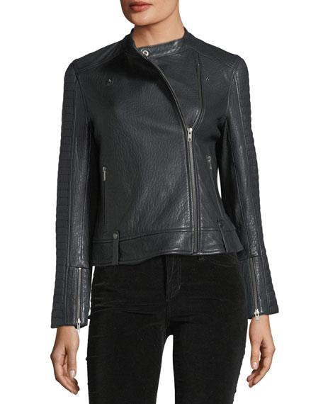 Deana Zip-Front Leather Moto Jacket