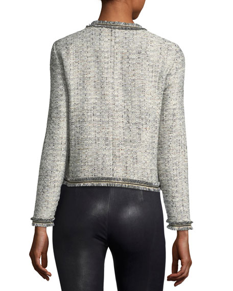 Belicia Round-Neck Tweed Jacket with Frayed Edges