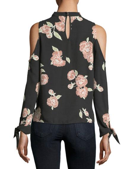 Jon Cold-Shoulder Floral-Print Silk Blouse