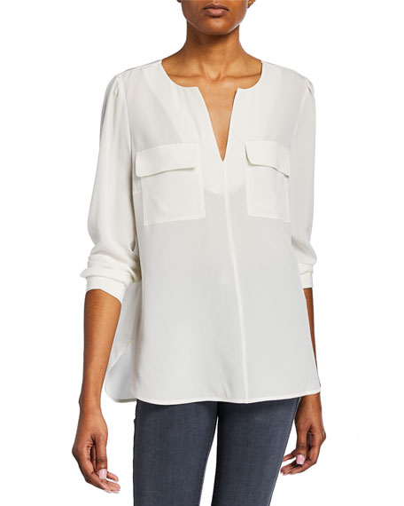 Silk Flap-Pocket Top