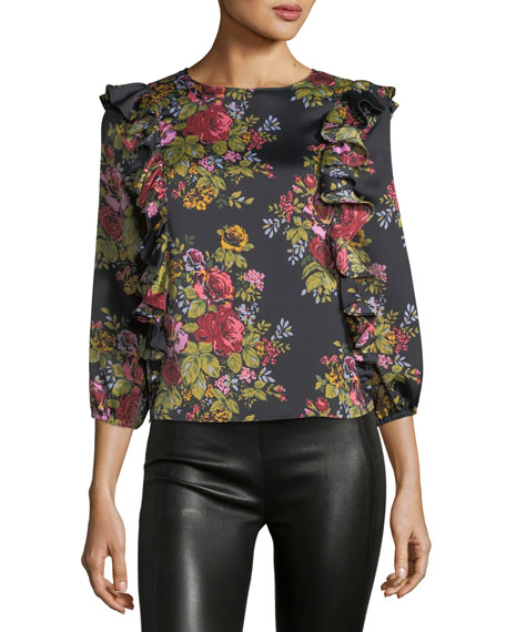 Highland Round-Neck 3/4-Sleeve Floral-Print Top