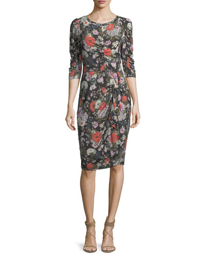 Floral-Print Crewneck Long-Sleeve Jersey Dress with Ruching