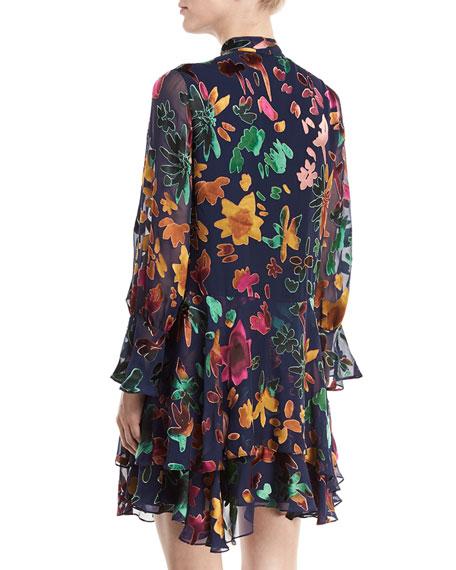Moore V-Neck Burnout Velvet Tunic Dress with Layered Skirt