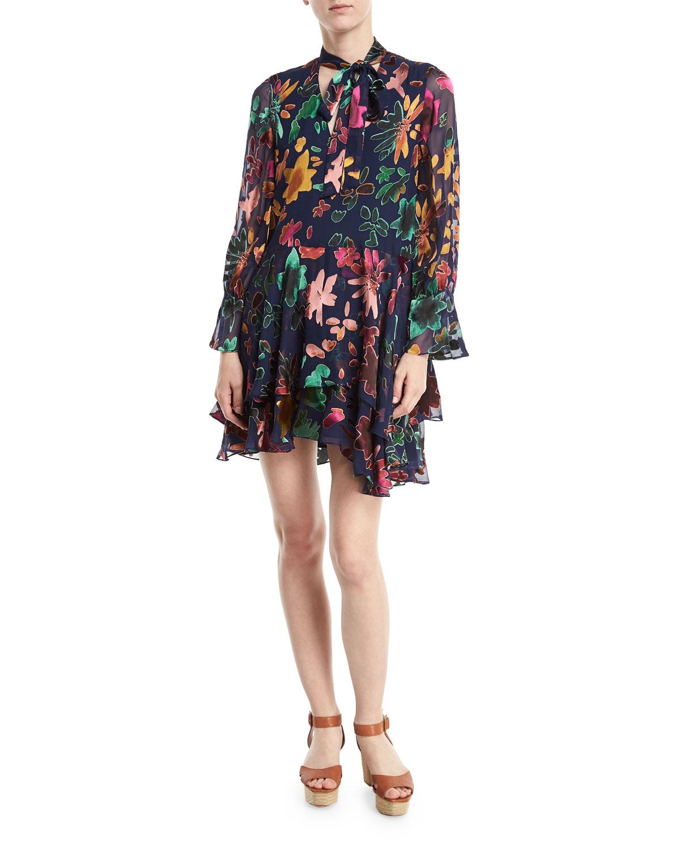 add5f8d520 Alice + OliviaMoore V-Neck Burnout Velvet Tunic Dress with Layered Skirt