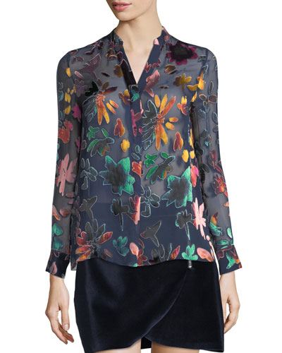 Amos Mock-Neck Burnout Velvet Tunic