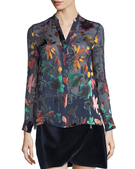 Alice + Olivia Amos Mock-Neck Burnout Velvet Tunic