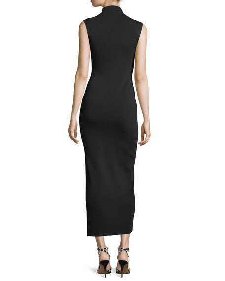 Mock-Neck Sleeveless Fitted Dress